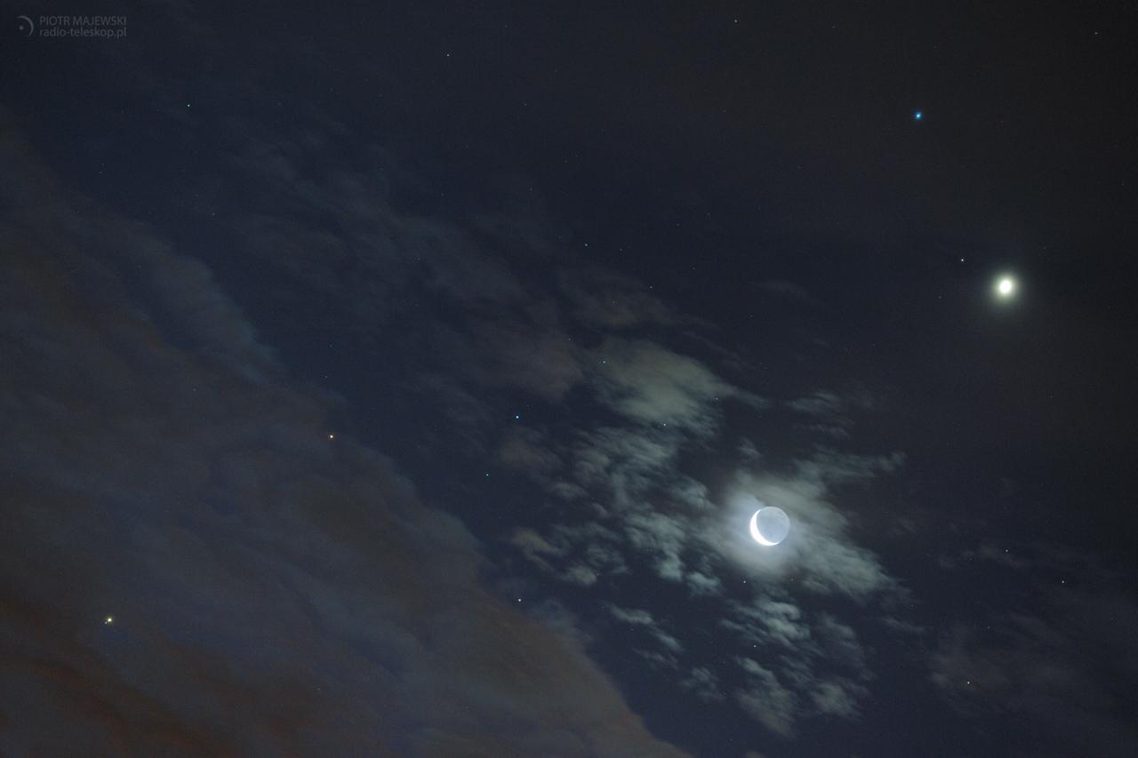 SZAŁ NIEBIESKICH CIAŁ. Księżyc, Wenus, Mars, Jowisz i Regulus.