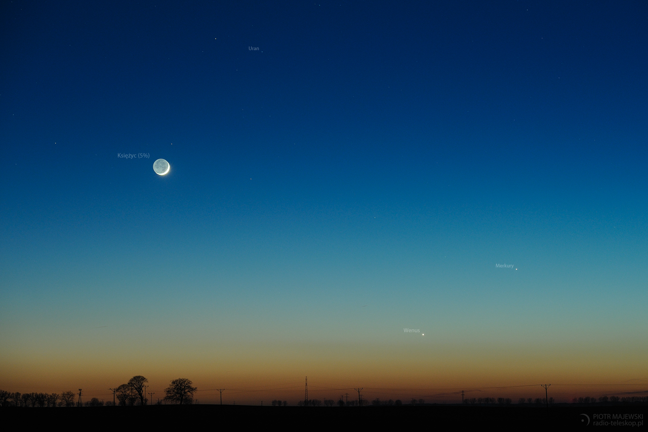 ZMIERZCH BOGÓW. Księżyc, Uran, Wenus i Merkury 19 marca 2018 r.