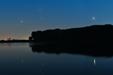 PANORAMA PLANET. Mars, Saturn i Jowisz nad Jeziorem Gopło.