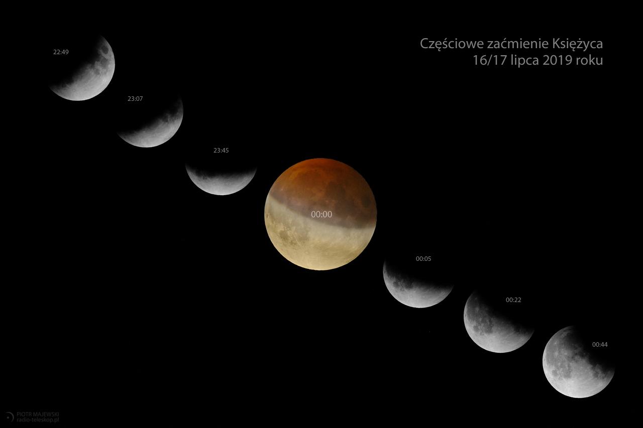 FAZY ZAĆMIENIA. Częściowe zaćmienie Księżyca 16 lipca 2019 roku.