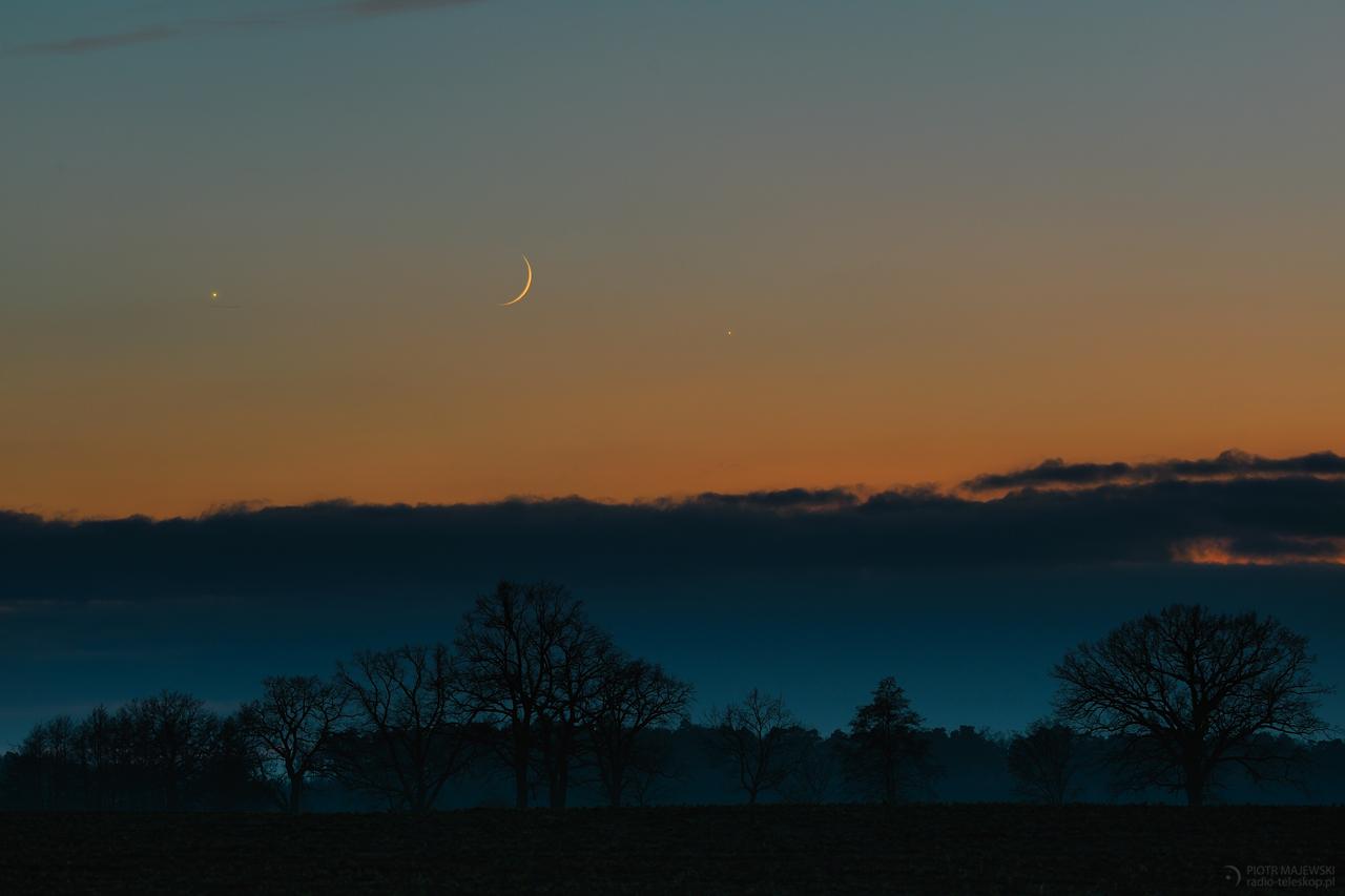 WIELKIE TRIO. Księżyc, Wenus i Jowisz w złączeniu 28.11.2019 roku.