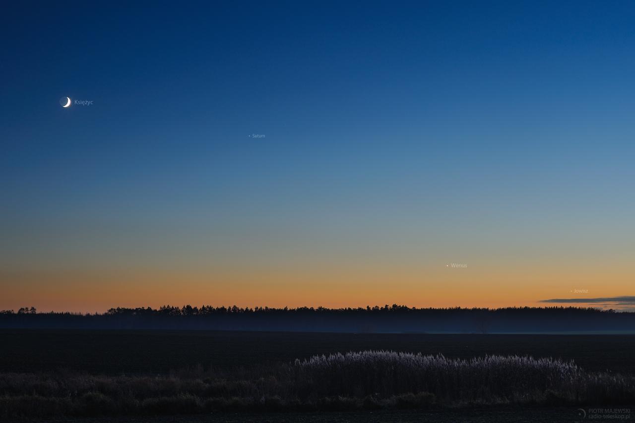 SZAŁ NIEBIESKICH CIAŁ 4.0. Księżyc, Saturn, Wenus i Jowisz 30.11.2019 r.