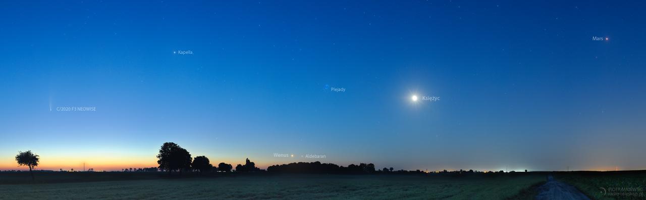 PARADA PLANET. Kometa NEOWISE, Księżyc i planety.